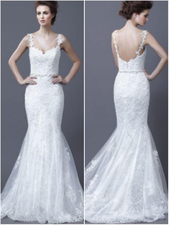 Lace spaghetti straps mermaid wedding dress with trumpet for Trumpet skirt wedding dress