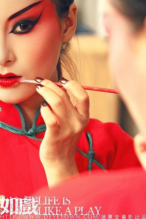 [戏中人]-欲对镜描红妆,因凝眸却湿画颜,可曾想,尘缘一叹成烟…  [Human drama] - For Miaohong makeup mirror, gazing but because wet paint color can be wanted, Yi Tan bonds of the smoke...