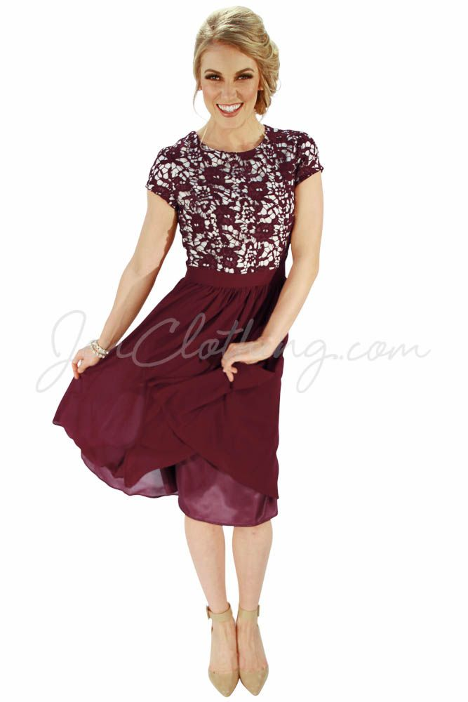 """Olivia"" Lace & Chiffon Modest Dress in Wine"
