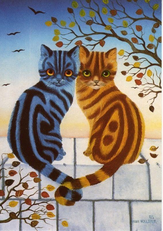 Hollerer, Anna. Love the patternings. #cats #CatArt