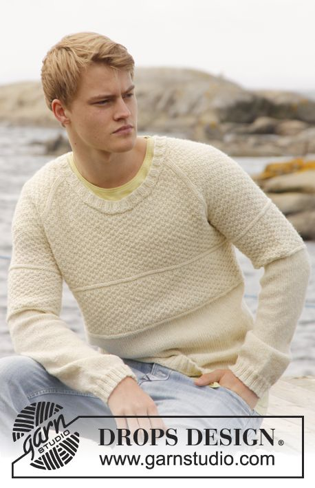 "Knitted DROPS men's jumper with raglan and double seed st in ""Lima"". Size: S - XXXL. ~ DROPS Design"