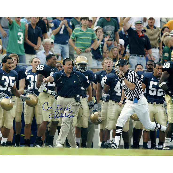 Charlie Weis Running Down Sidelines w Go Irish Insc. 16x20 Photo - Charlie Weis graduate of the University of Notre Dame made his name in the coaching world as the offensive coordinator of the New England Patriots. After helping them to win four different Super Bowls Weis then decided to return to his alma mater as the head football coach. He coached at Notre Dame from 2005 to 2009 before accepting the job as head offensive coordinator for the Kansas City Chiefs. Charlie Weis has hand signed…