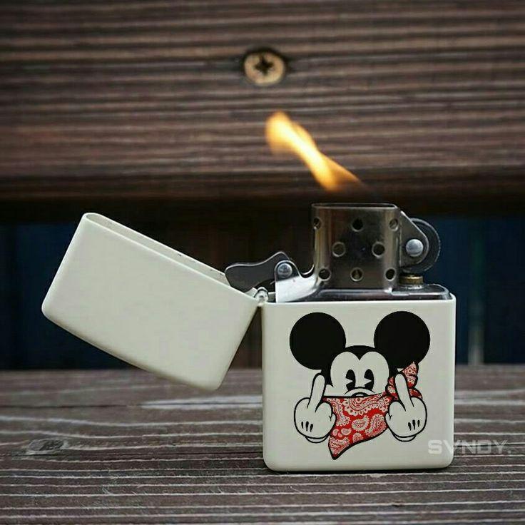 Fuckin Mickey Zippo White Matte
