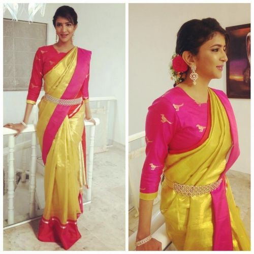 Lakshmi Manchu wearing a gold tissue Kanjeevaram saree by Sailesh Singhania