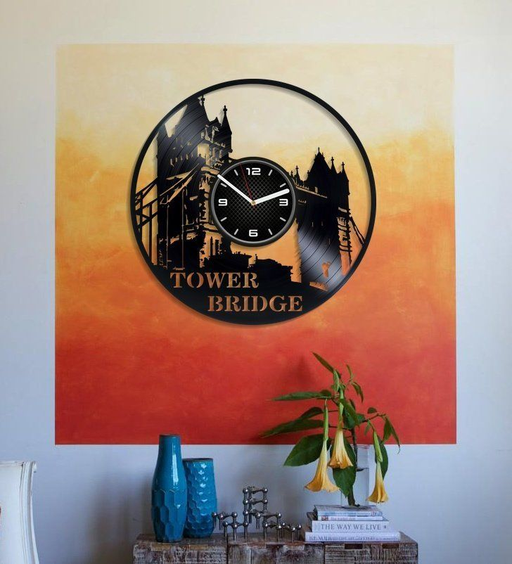 Tower Bridge Wall Clock 12 Inch London Art Tower Bridge Vinyl Record Wall Clock Christmas Gift Big Ben Art Bedroom A Bridge Wall Art Big Ben Art Vinyl Wall Art