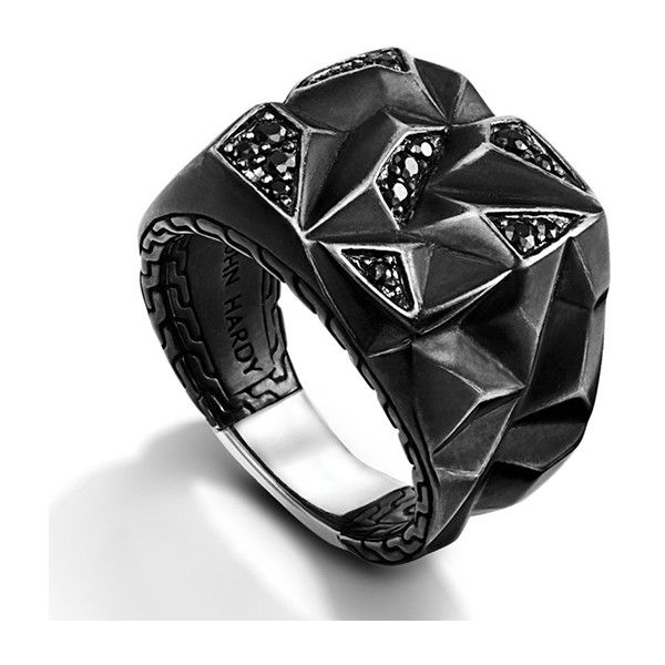 John Hardy Classic Chain Black Sapphire Lava Square Ring ($495) ❤ liked on Polyvore featuring men's fashion, men's jewelry, men's rings, mens black star sapphire ring, john hardy mens rings and mens square ring