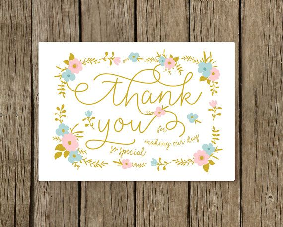 Thank You Wedding Card for Parents, Wedding Card, Thank you card, Thank You Bridesmaid Cards, Boho wedding card, boho roses, Gold