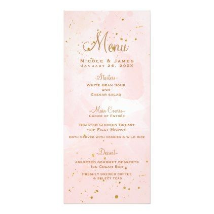 Blush Pink & Gold Splatter Modern Wedding Menu - gold wedding gifts customize marriage diy unique golden