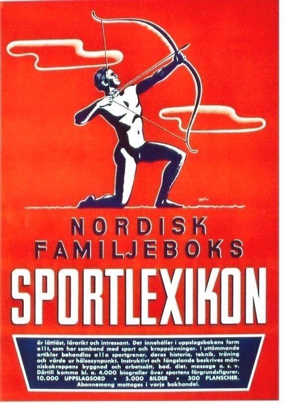 Original Vintage Poster Scandinavian Sport Lexikon Arrow Shot C 1945 Vintage Posters Arrow Shooting Sports