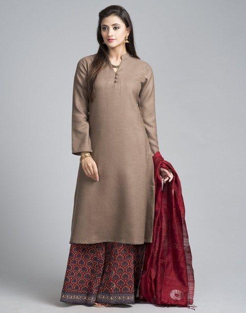 Buy Fabindia Wool Plain Full Sleeves Long Kurta Online- http://Fabindia.com