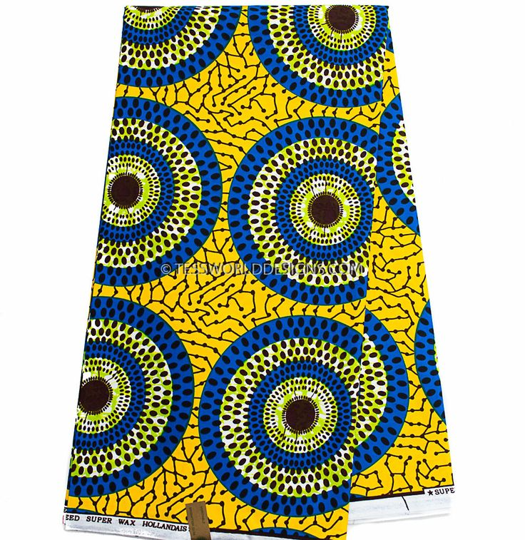 This superior super wax African fabrics is 100% cotton print material. It is a Wax print and machine washable. Ideal for making African clothing, African skirt, African quilts, Upholstery, for finishi