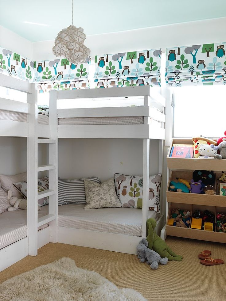 In this bedroom, bunk beds maximize the floor plan while adding a playful touch.  Source: Jonny Valiant