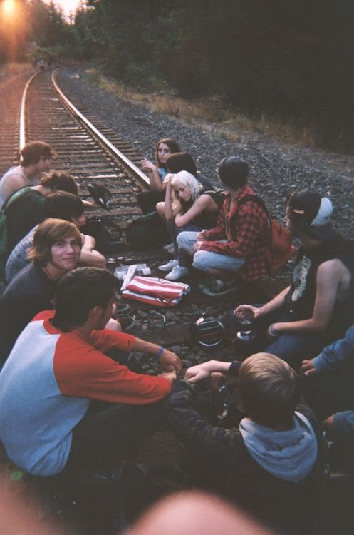 picnic on the tracks | friends | hanging out | sunset | friendship | rebels | reckless | young and free |