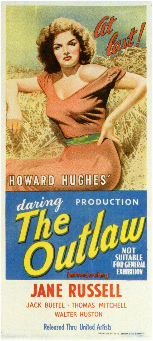 """""""The Outlaw"""". Jane Russell, Jack Beutel, Thomas Mitchell and Walter Huston. Directed by Howard Hughes. Directed by Howard Hughes, United Artists, 1943. Australian Insert Poster."""