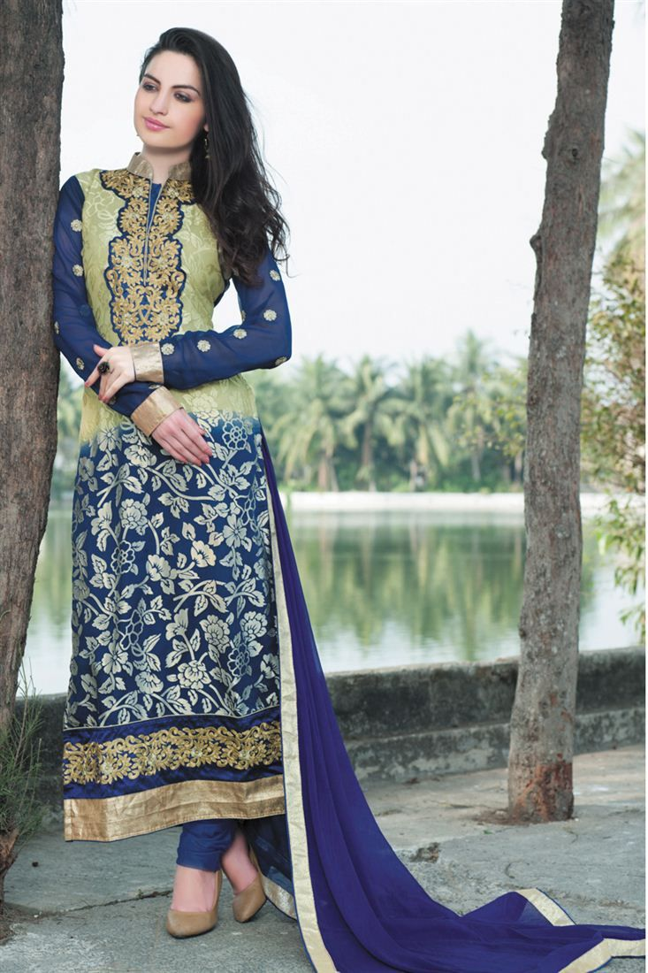 Enigmatic Blue And Beige Designer Salwar Kameez