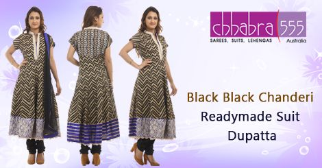 Visit Chhabra555 in Australia with Responsive Customer Service - enquiries responded within 24 hours, and Get Black Black Chanderi Readymade Suit Dupatta @ $284.95 AUD