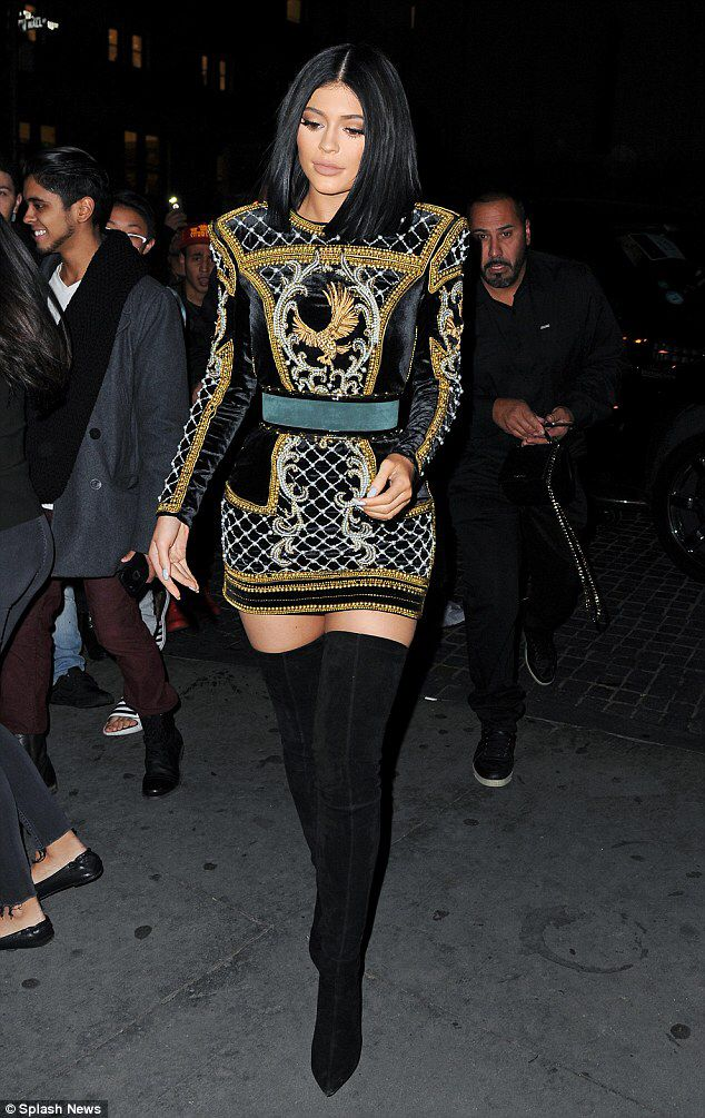 Kylie Jenner attending the Balmain x H&M fashion show 2015
