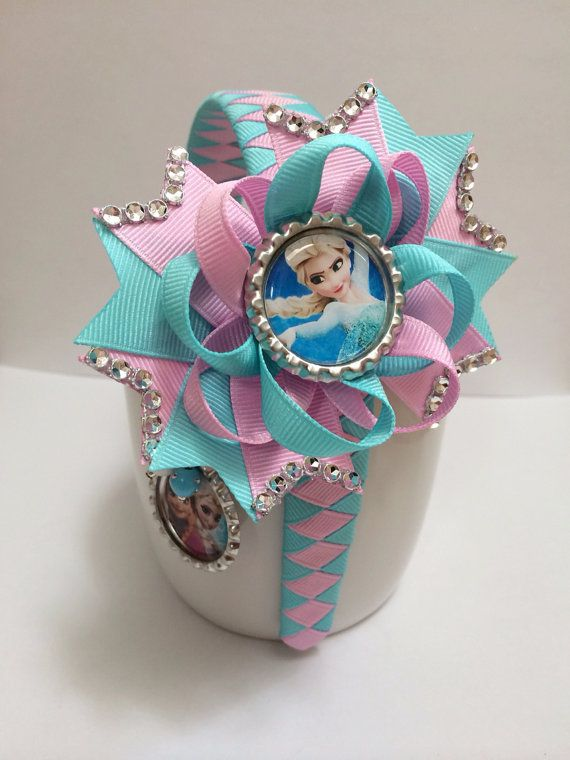 Frozen hair bow. Frozen headband. Frozen necklace Elsa hair bow on Etsy, $15.99