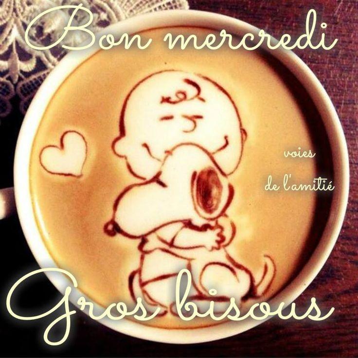 Bon mercredi, Gros bisous #mercredi cafe snoopy charlie brown calin
