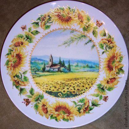 "Тарелка ""Цветы солнца"". Handmade. Мастер Елена Сухенко."