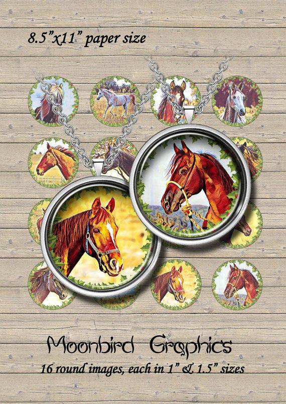 HORSES  Digital Collage Sheet  1 & 1.5 circles by MoonbirdGraphics