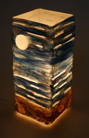 Этот светильник сделала для книжки, там будет рассказ как его валять. Спасибо Кате rija за веселый вьетнамский шифон! Светильник «Берег моря». Спасибо…