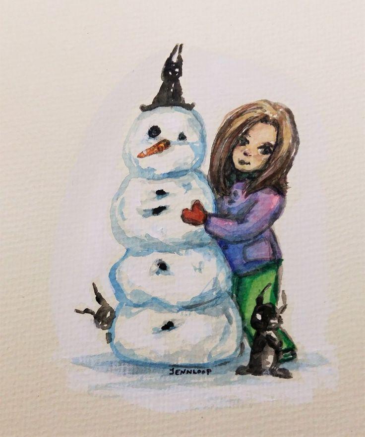 Little demons and Snowman watercolor and ink illustration by Jennifer Lindroos / Jennloop (@tweetyloop) on Twitter
