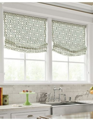 Fabric embroidered gate spa from smith noble new house for Roman shades for kitchen windows