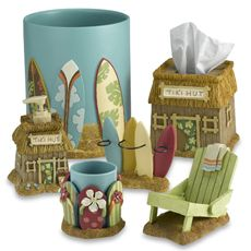 Surf's Up Bath Ensemble by Saturday Knight Limited- like the soap dish, and wastebasket especially- possibly for the boys bathroom