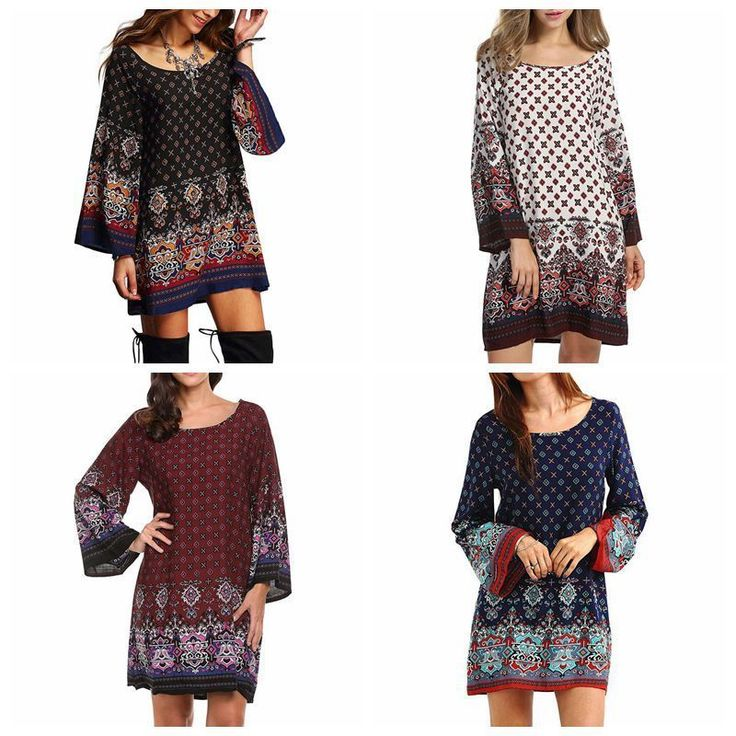 Fashion Bohemian Ethnic Print Dress For Women Summer A-Line Polyester Party Rode