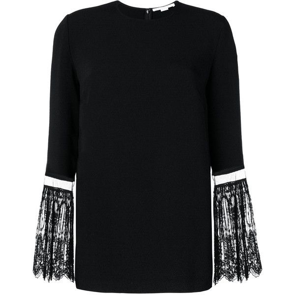 Stella McCartney lace sleeved blouse (€945) ❤ liked on Polyvore featuring tops, blouses, black, long sleeve tops, long sleeve lace blouse, long sleeve blouse, stella mccartney blouse and round neck blouse