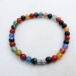 Bracciale elastico da uomo in agata multicolore e argento indiano