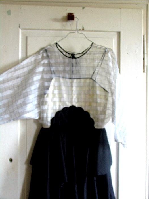Applique retro dress Prom black dres Black & white by artwardrobe, $25.00