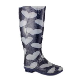 79350 Get festival ready with these blue womens glitter wellington boots with a funky white heart print and comfy low heel £12.99 www.shoezone.com #womens #wellies #boot #wellington #hearts #blue #glitter #festival #leeds #reading
