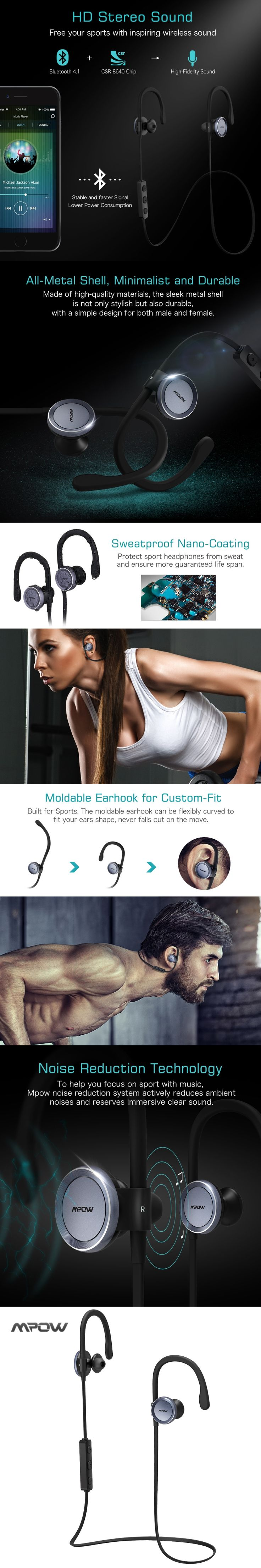 Mpow Goshawk Wireless Noise Cancelling Headphones Sports Headset Sweatproof Running Gym Exercise Headphone, Bluetooth 4.1