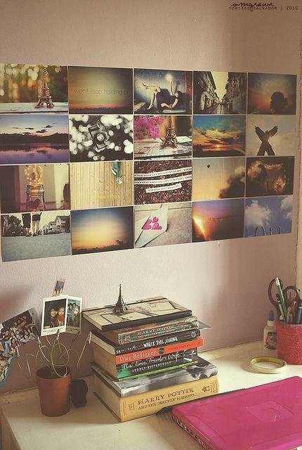 I love photo walls!  Bedroom decoration inspiration. Chalk board photo wall, and knick knacks