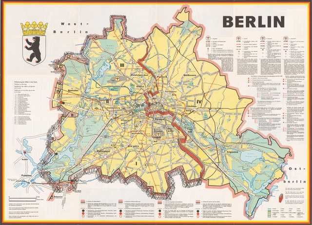 Berlin A Cold War Map Showing The Berlin Wall As A Bricked Up