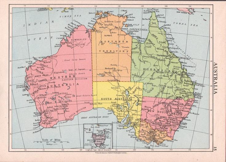 1950s Australia map vintage Australian map school map of AustraliaI