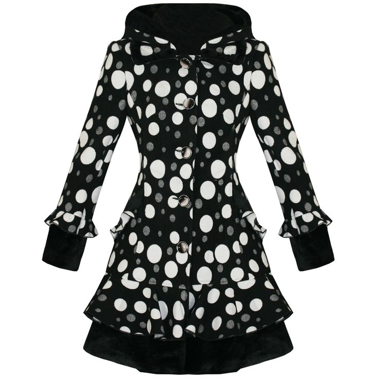 Mantel Damen Schwarz Weiß Punktemuster Emo Vintage Goth Stil Tailliert Neu | eBay