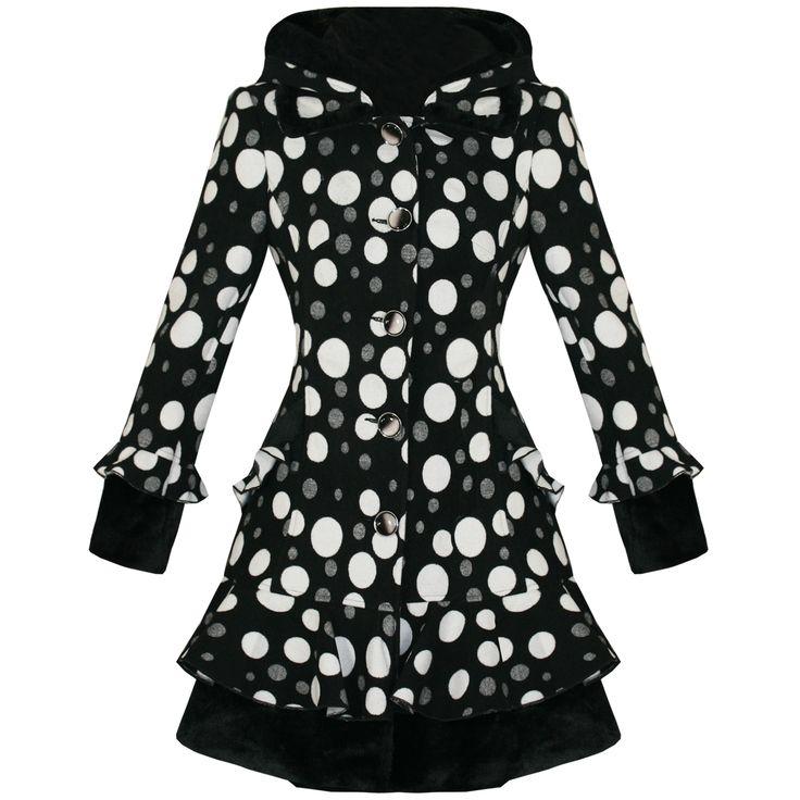 Mantel Damen Schwarz Weiß Punktemuster Emo Vintage Goth Stil Tailliert Neu   eBay