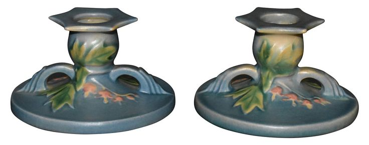 Roseville Pottery Bleeding Heart Blue Candle Holders 1140