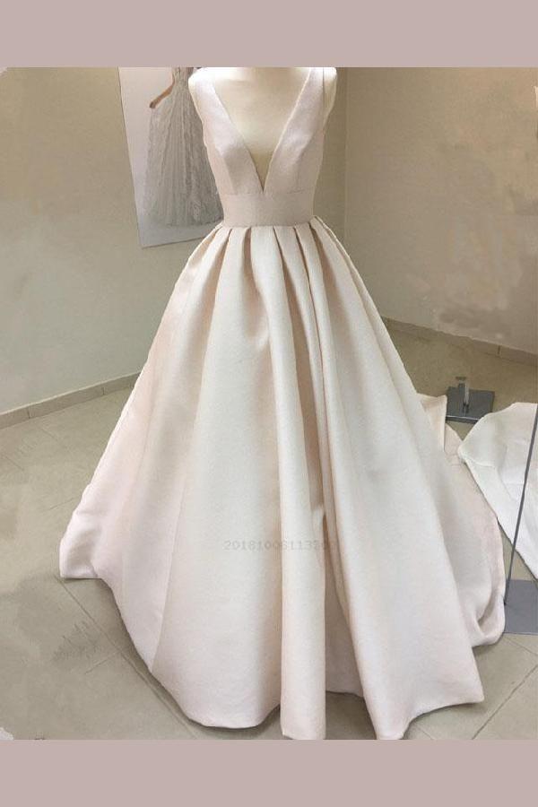 Wedding Dress Ball Gown V Neck Wedding Dress Beautiful Wedding Dress V Neck Wedding Dress Wedding Dress Vintage Ball Gowns Satin Wedding Gown Ball Dresses