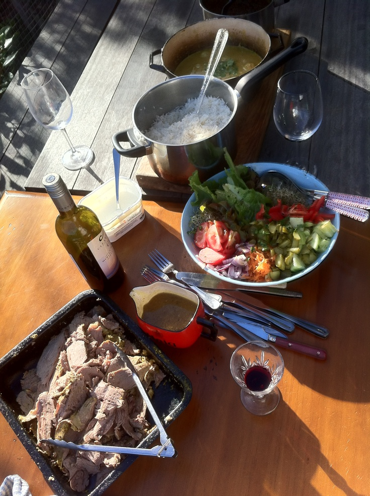 Dinner in the Sounds - yummy lamb curry, fresh garden salad. Mmmmm