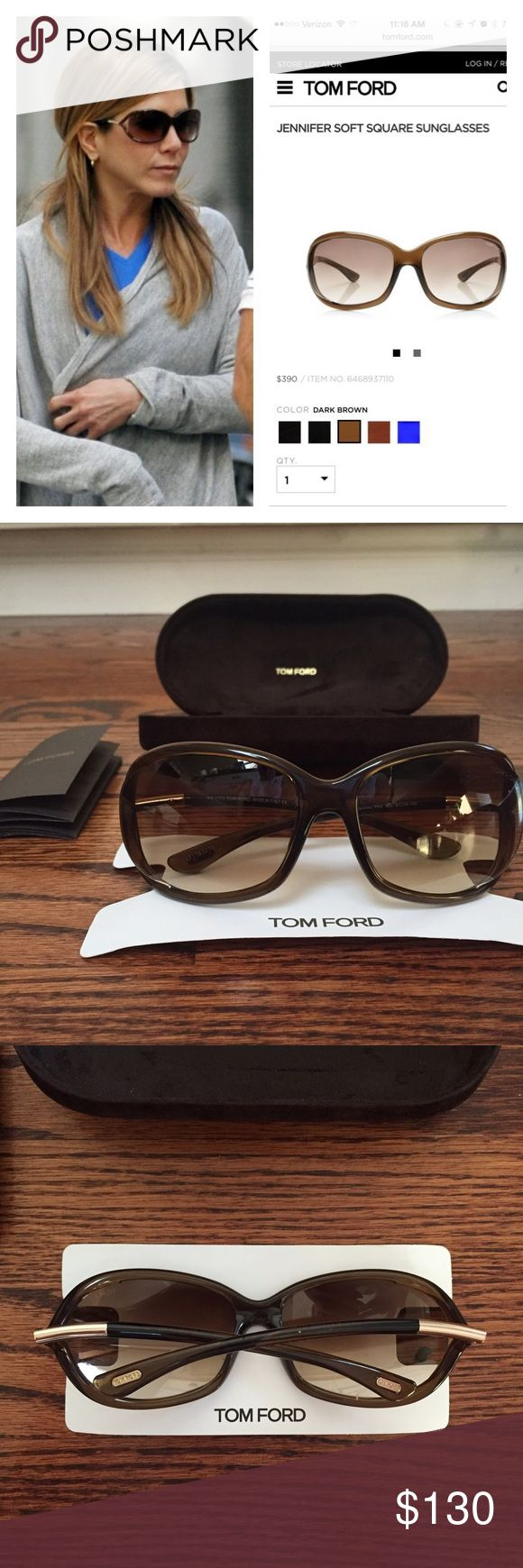 NEW Tom Ford jennifer sunglasses authentic A favorite of Jennifer Aniston and Angelina Jolie, these brand new authentic Tom Ford Jennifer soft square sunglasses are a staple. Glasses have serial #, happy to provide it! Size is 61 and color is dark brown. No trades please! Tom Ford Accessories Sunglasses