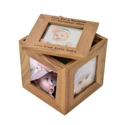 Oak Photo Keepsake Cube. £17.99 #PersonalisedCube #ChristeningGifts #PhotoGifts #Keepsake #BabyGifts #Engraved #WoodenGifts #PersonalisedChristeningGifts