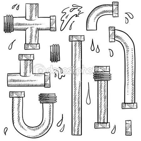 Набор воды или водопроводные трубы — Векторная картинка #13889846