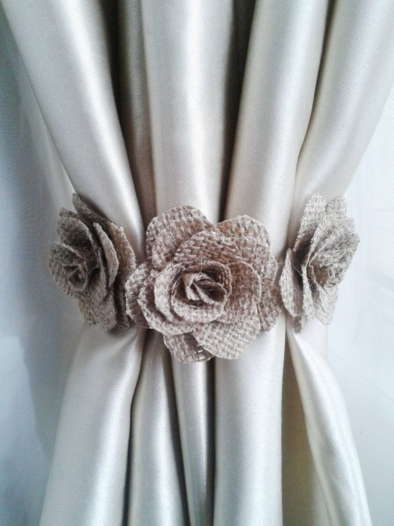 Curtain tie back2pcsBurlap Flower curtain tie by LamoreBoutique