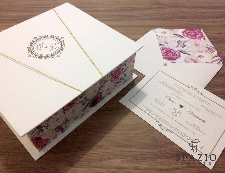 Convite para Pais e Padrinhos, Spazio Convites.  #wedding #casamento #noiva #convite #caixa #padrinho #brasão #monograma #casar #noivos #floral #DIY #classico #spazioconvites
