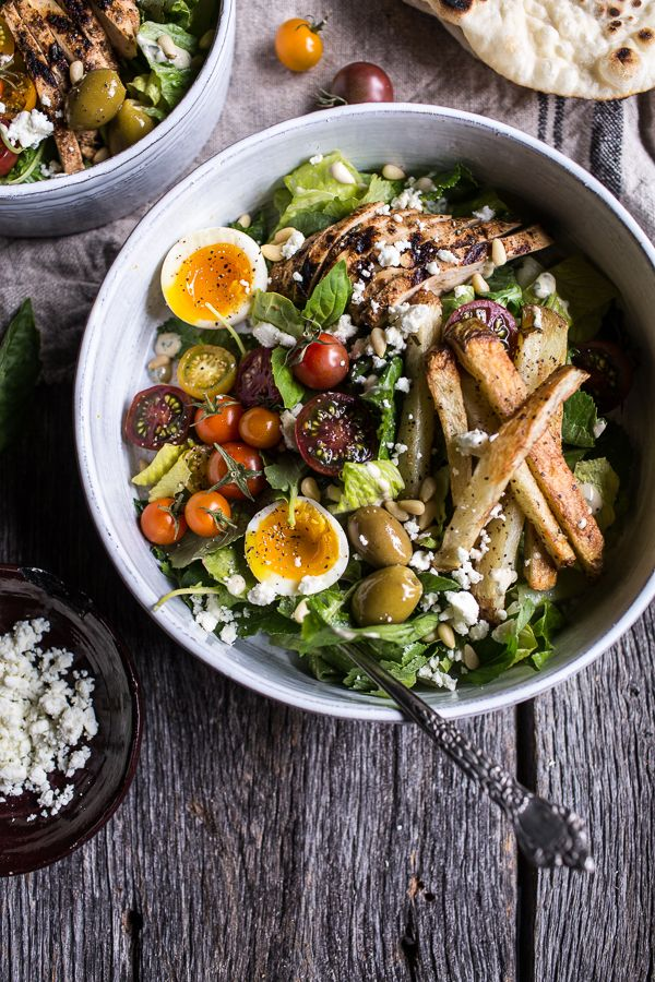 Greek Chicken Gyro Caesar Salad - all your favorite gyro ingredients on a bed of lettuce, kale and basil - healthy and delicious! From halfbakedharvest.com