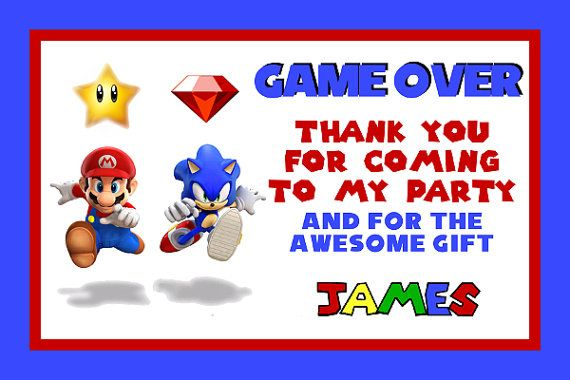 Mario & Sonic Personalized Digital Birthday Thank you Card ...
